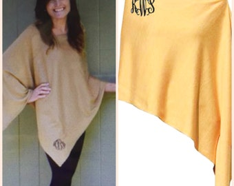 Monogrammed Poncho Sweater