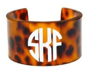 Monogrammed Tortoise Cuff Bracelet