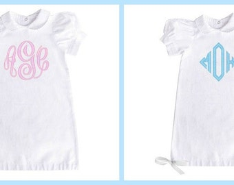 Monogrammed Baby Gown - White 0-6 Months