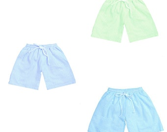 Personalized Swim Trunks Boys Seersucker Baby and Toddler Swim Trunks