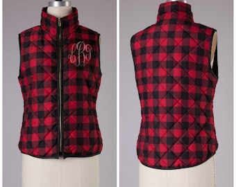 Monogrammed Plaid Vest - Puffy Vest