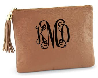 Monogrammed Leather Clutch Purse Cognac Leather Clutch Purse Personalized Tassel Handbag Genuine Leather