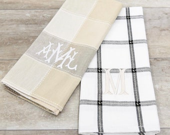 Monogrammed Hand Towel Monogrammed Guest Towel Neutral Plaid linen