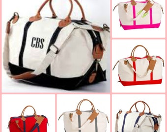 Monogrammed Tote - Weekender Canvas Tote Duffle Bag Overnight Travel Bag Personalized