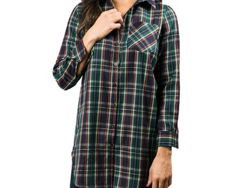 Monogrammed Plaid Tunic in Navy for Women Oversized Button Down Shirt for Bridesmaids