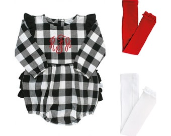 Buffalo Plaid Baby Girl Bubble Romper with Ruffle Butt and Footless Tights Christmas Outfit