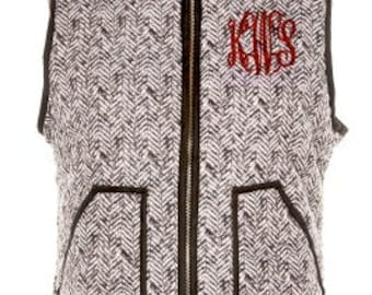 Monogrammed Herringbone Vest - Puffer Vest SALE