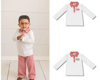 Monogrammed Boys Polo Style Long Sleeve  Gingham Collar Shirt