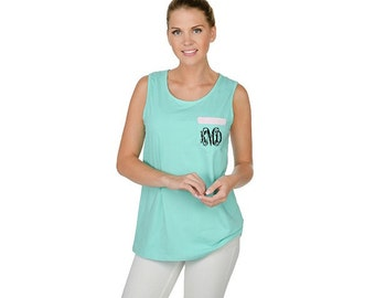 Monogrammed Pocket Tank Mint Green SALE