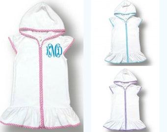 Girls Seersucker Terry Cloth Swim Cover Up Dress