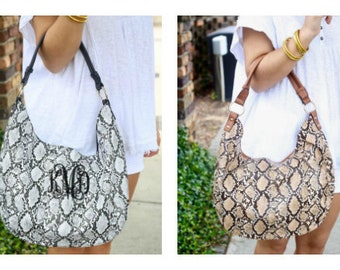 Monogrammed Purse Snake Print Hobo Handbag