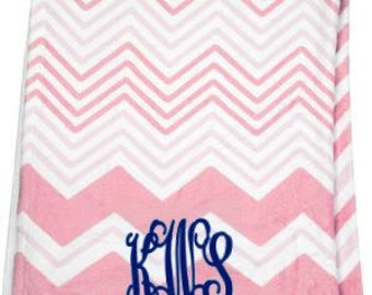 Monogrammed Baby Blanket - Pink Chevron
