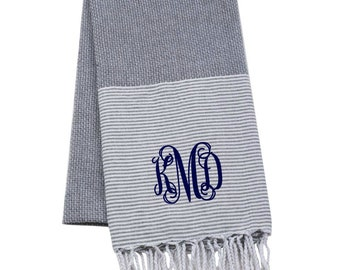 Monogrammed Turkish Towel Oversized Bath Towel Gray and White