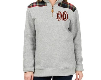 Monogrammed Quarter Zip Gray Plaid Pullover