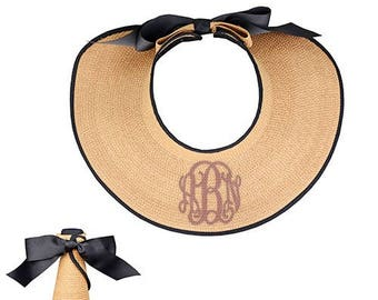 Monogrammed Beach Hat with Bow