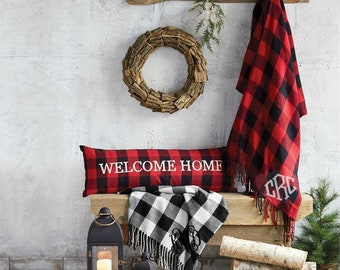 Buffalo Plaid Throw Blanket Monogrammed