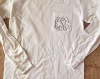 Monogrammed Pocket Tee - Glitter Long Sleeve