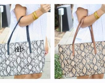 Monogrammed Tote Snake Print Handbag