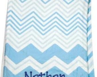 Monogrammed Baby Blanket - Blue Chevron