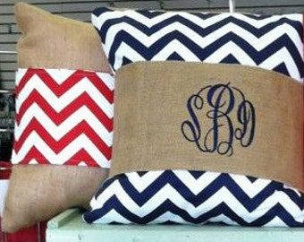 Monogrammed Burlap Pillow - Wrap