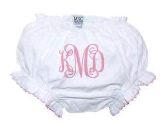 Monogrammed Diaper Cover Baby Girls Bloomers with Pink Trim