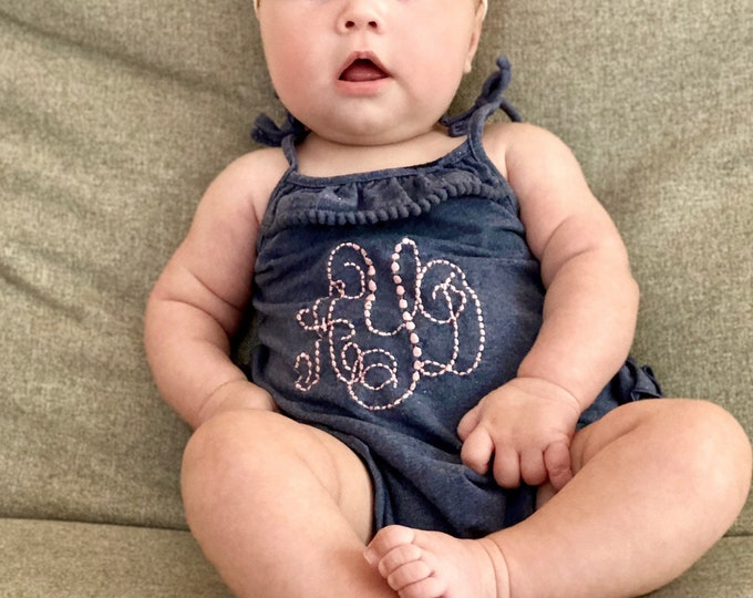 Featured listing image: Girls Ruffle Romper Faux Denim Baby Girls Outfit Monogrammed
