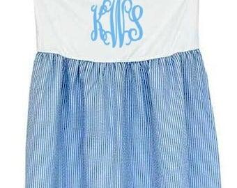 Monogrammed Swimsuit Cover - Blue Seersucker