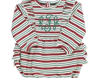 Monogrammed Holiday Bubble Romper Peppermint Stripes Ruffled Outfit