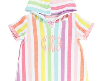 Rainbow Stripe Coverup for Girls with Ruffle Detail