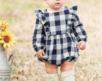 Monogrammed Plaid Bubble Romper Navy Plaid Girls Outfit