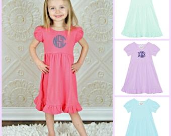 Monogrammed Ruffle Dress Toddler Girls
