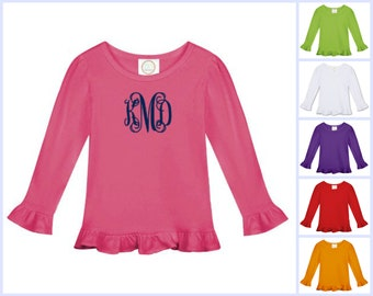 Monogrammed Long Sleeve Ruffle Tee Baby and Toddler Girls