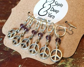 Stitch Markers - Peace Signs with Purple Crystals - Wire Wrapped - Set of 6