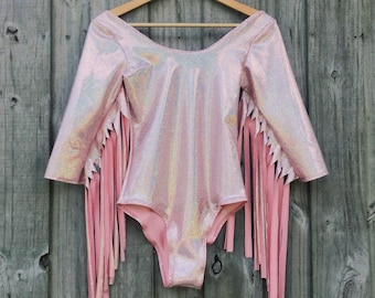 Space Cowgirl Holographic Fringe Bodysuit
