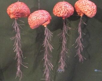 "Zombie Brain Ornament w/ Spinal Cord, 2-1/4"""