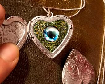 "Sea Monster Eyeball locket 1-1/8""x1-1/8"" heart-shaped locket + 18"" silver snake chain necklace)"