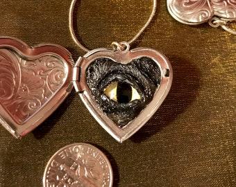 "Werewolf Eyeball locket 1-1/8""x1-1/8"" heart-shaped locket + 18"" silver snake chain necklace)"