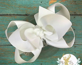 Solid Double Stacked Boutique Hair Bow * Double Stacked Headband * Large Stacked Bow * Big Baby Bow * Big Bow