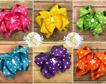 Polka dot Double Stacked Boutique Hair Bow * Double stacked Headband * Large Stacked Bow * Big Baby Bow * Big Bow