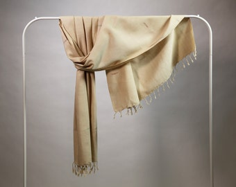 The 'Monita' Shawl in Light-Weight Ethical 'Eri' Silk with Woven Design from Weaving Destination Handwoven