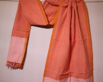 The 'Surekha' Orange Striped Scarf from Weaving Destination 100% Organic Cotton