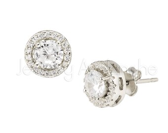 48f0545f4 Solitaire Round CZ Halo Stud Earrings, Diamond Simulant CZ .925 Sterling  Silver Stud Earrings, Cubic Zirconia Accent, Butterfly Friction