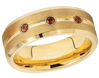0.21ctw Black Diamond 3-Stone Tungsten Band Brushed Finish Black IP Comfort Fit 2-Tone Tungsten Wedding Ring TN678BS April Birthstone Ring