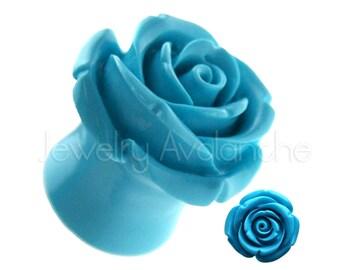 Rose Resin Plugs Ear Piercing Jewelry Body Jewelry Flared Coral Pink Shrub Rose Hard Resin Organic Ear Plugs
