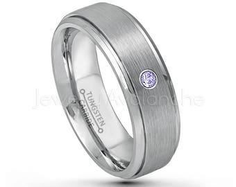 Build Your Own Gemstone Ring TN619BS 2-Tone Rose Gold Tungsten Wedding Band Custom Made Birthstone Ring 0.21ctw 3-Stone Gemstone Ring