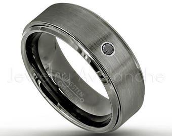 March Birthstone Ring Double Cable Titanium Ring 0.07ct Men/'s Aquamarine Ring Brushed Finish Men/'s Titanium Ring TM761-BS