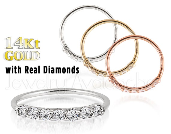007ct Diamond Nose Hoop Solid 14kt Yellow Gold Nose Ring Etsy