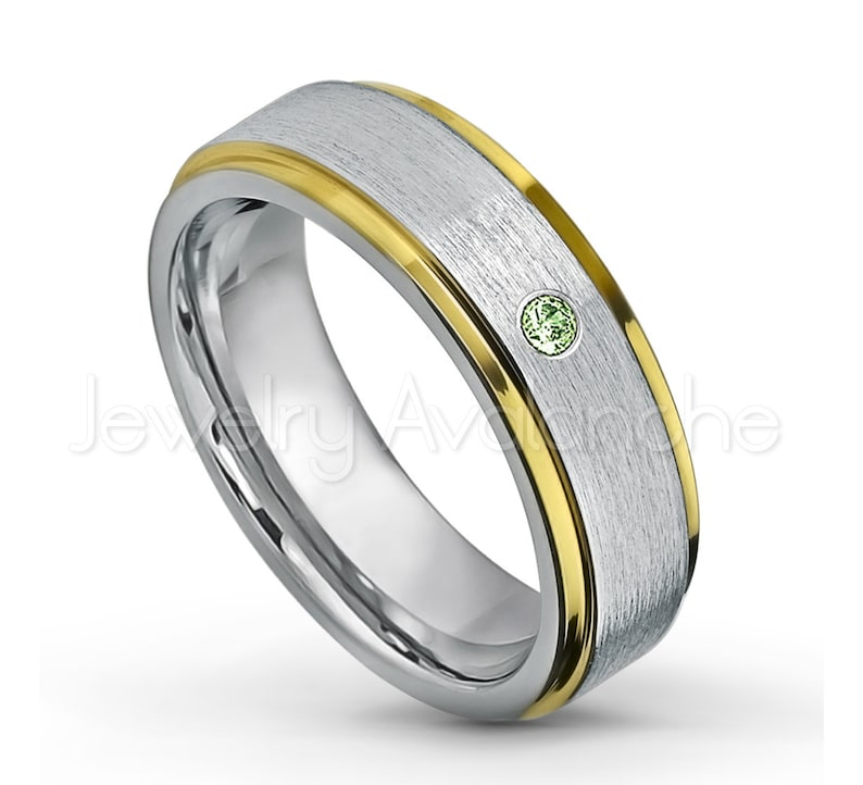 Yellow Gold Plated Comfort Fit 2-tone Tungsten Carbide Wedding Ring TN330BS 0.07ct Green Tourmaline Solitaire Band October Birthstone Ring