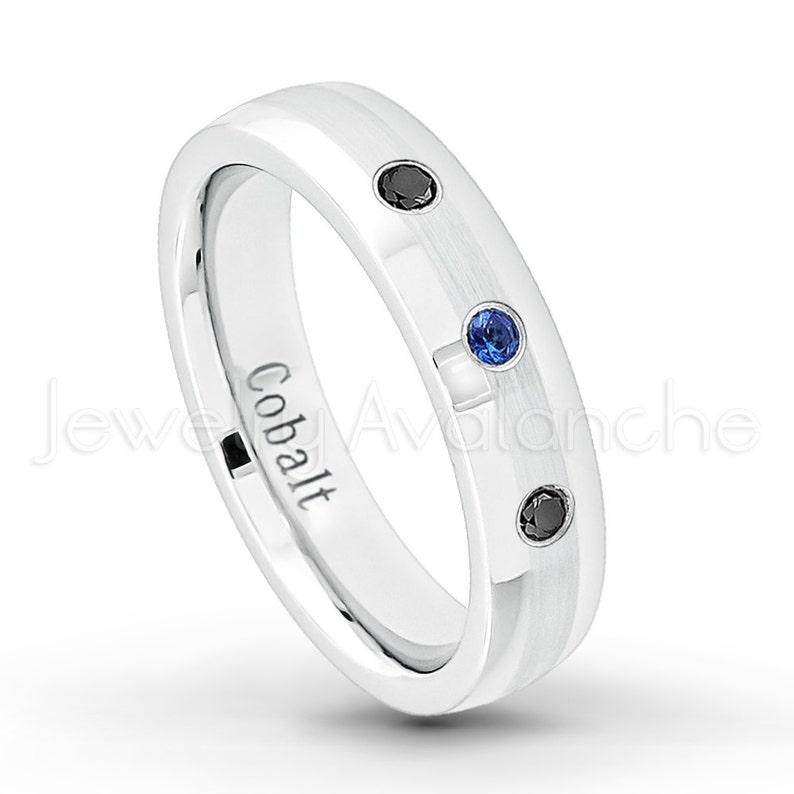 f0cfccc62b2e1 0.21ctw Ladies Blue Sapphire & Black Diamond Ring, Brushed Center Dome  Cobalt Anniversary Wedding Band, 5mm Comfort Fit Cobalt Chrome CT292