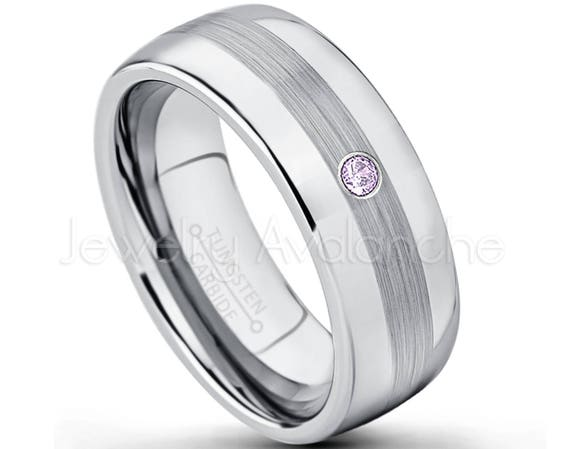 0.21ctw Amethyst /& Diamond 3-Stone Anniversary Band February Birthstone Ring 8mm Pipe Cut Black Tungsten Carbide Ring Tungsten Wedding Ring